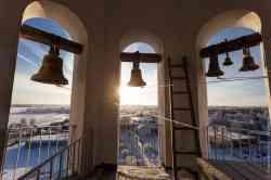 Морозный день 11.01.2021, вид на Валдай с колокольни Троицкого собора