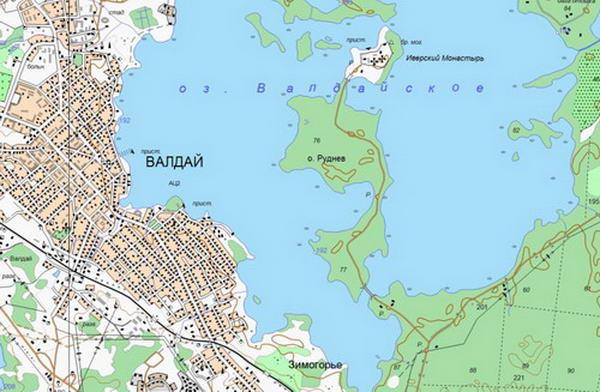 Карта окрестностей Валдая